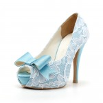 Laced Blue Wedding Shoes