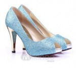 Shiny Blue Cheap High Heels Online