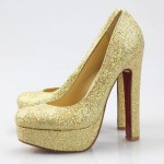 Superb Gold Glitter Heels