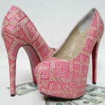 Pink Pattern Ladies Heels Shoes