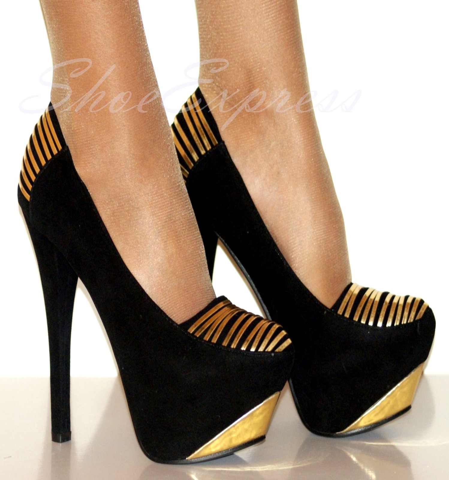 Black Gold Ladies High Heel Shoes