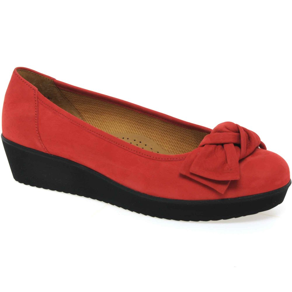 Red Ladies Wide Shoes