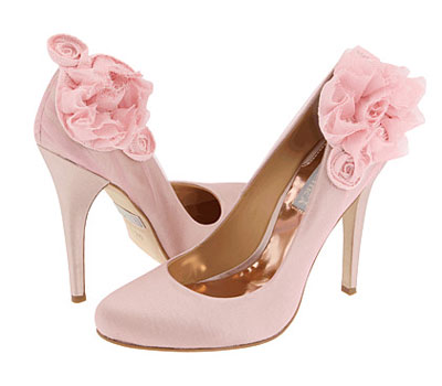 Flowered Pink Bridal Shoes