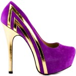 Shiny Gold Purple High Heels
