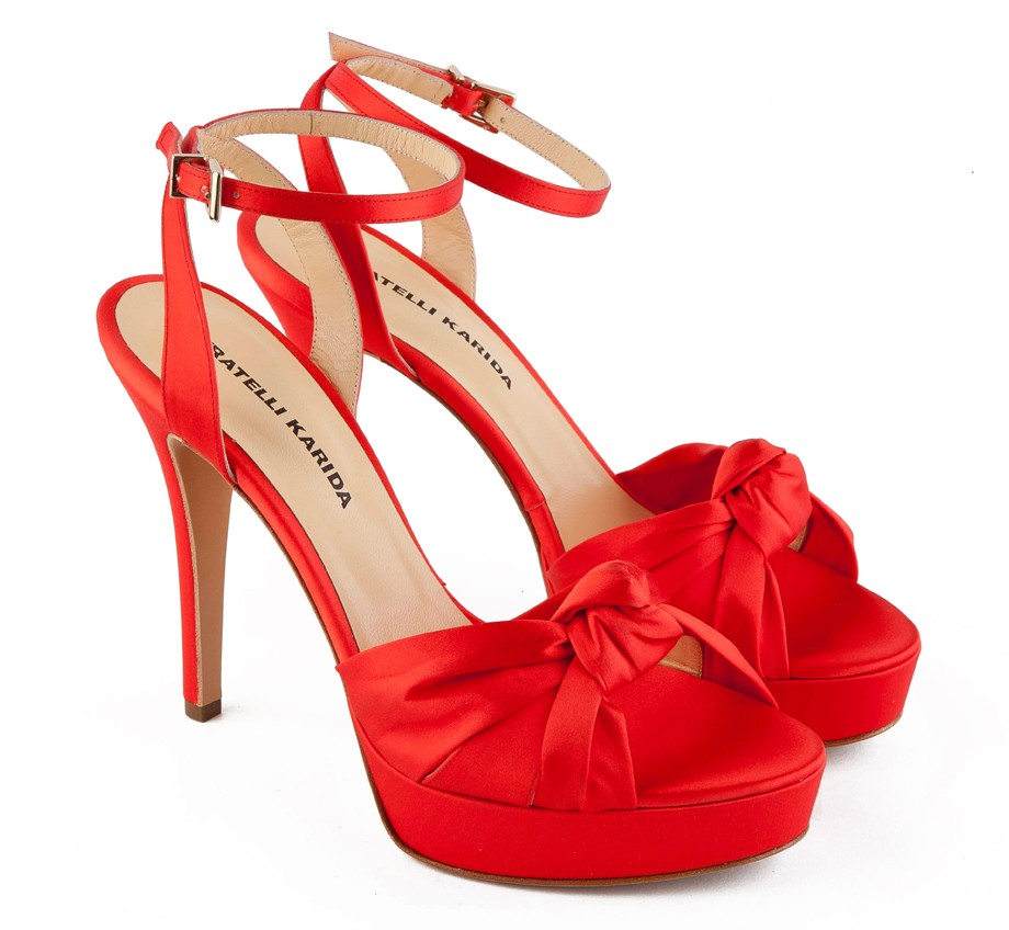 Ribboned Red High Heel Sandals