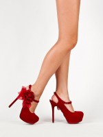 Flowery Red High Heel Shoes
