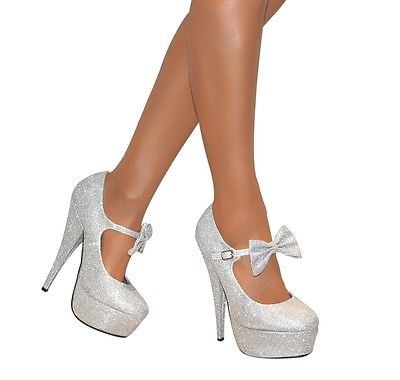 Ribbon Silver High Heel Shoes
