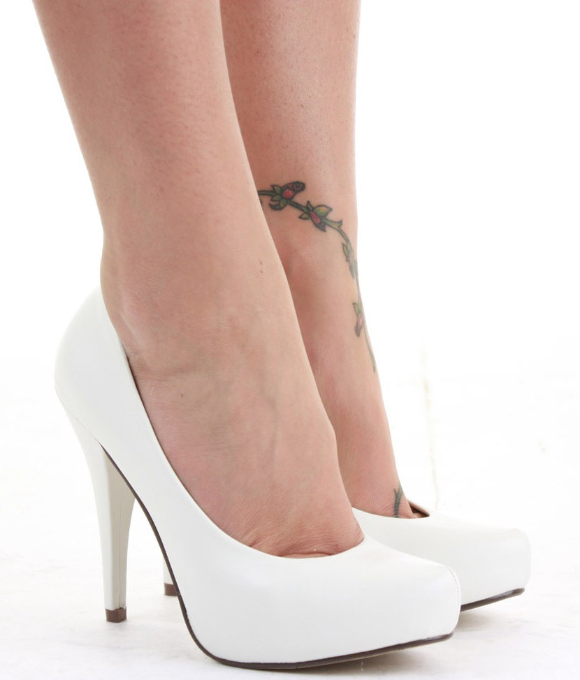 White Glitter High Heel Shoes