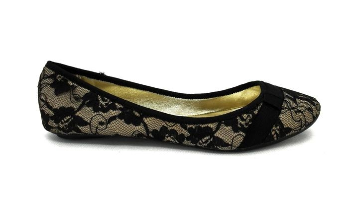 Black Laced Flat Shoes For Women