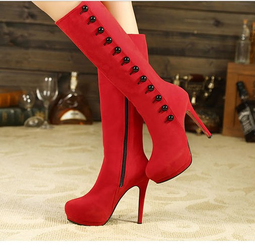 Red High Heel Boots For Women