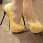 Yellow Ladies High Heel Shoes