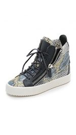 Giuseppe Zanotti Women's Printed Snake Sneakers, Blue Multi, 38.5 EU (8.5 B(M) US Women)