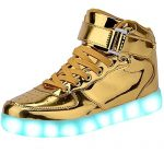 JAIMEBANNISTER Mens Womens USB Charging High Tops Led Light up Sneakers – Golden EU37
