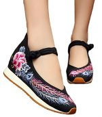 AvaCostume Womens Peony Phoenix Tail Embroidery Wedges Travel Walking Casual Shoes, Black 37