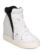Cape Robbin Uneek-1 Women Sequin High Top Hidden Wedge Sneaker,White,6.5