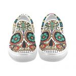 D-Story Custom Flower Suger Skull Women's Canvas Shoes Fashion Shoes Sneaker