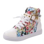 Rusway Womens Stylish New Comfortable Skull Lace Up Buckle Zipper Skull Flats Sports Canvas Sneakers Shoes(6 B(M) US, Pinkflower)