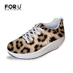 FOR U DESIGNS Classic Leopard Print Women's Shape Ups Strength Fitness Walking Sneaker US 8