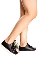 SIGNATURE FAUX LEATHER ROUND TOE LACE SNEAKER 75 black