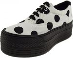 Maxstar Dot Patterned Oxford Boat Platform Sneakers Shoes White 6 B(M) US Womens