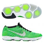 nike womens flyknit zoom fit agility running trainers 698616 sneakers shoes (uk 6 us 8.5 eu 40, volt white black green glow 701)
