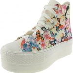 Maxstar Women's C50 7 Holes Zipper Platform Canvas High Top Flower Sneakers RoseBlue 8 B(M) US