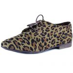 Breckelle's SANDY-31 Basic Classic Lace Up Flat Oxford Shoe,6.5 B(M) US,Leopard-31W,6.5 C/D US