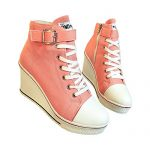 Women's Canvas High-Heeled Platform Wedge Fashion Sneaker Pump Shoes Pink Label 37 – US 6.5