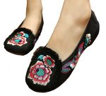 YueLian Women Chinese Wedding Strap Qipao Shoes Canvas Embroidery Oxfords Ballet Flat Shoes (8, Black3)