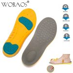 WOBAOS Memory Foam Orthopedic Silica Gel Shoe Insole, Sport Running Athletic Basketball Shoe Insoles Pads Inserts Pain Relief, Sports Insoles, Unisex Shoes,for Everyday Use. (2-6 US, Yellolow/Gray)