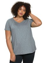 Roamans Women's Plus Size Pintuck Shirttail Hem Tee Gunmetal,2X