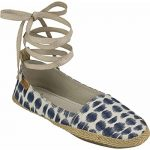 Sanuk Womens Espie Slip On LX Shoes Footwear Size 07 Natural/Navy Ikat Dot