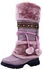 losver Womens Pom Pom Fully Fur Lined Mid-calf Winter Flat Snow Boots Purple7.5 B(M) US