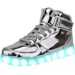 JAIMEBANNISTER Mens Womens USB Charging High Tops Led Light up Sneakers – Silver EU45