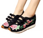 AvaCostume Womens Chinese Embroidery Travel Walking Shoes Flats Sneakers Shoes, Black 41