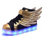Frommk Sneakers Kids Boys Girls Usb Charger 7 Colors Led Lights Luminous Sports Shoes Sneaker Athletic Wings Trainers High-Top Shoes Gold-Black30 M Eu / 12 M Us Little Kid
