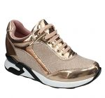 Moca Sports-02 Women's Casual Two Tone Faux Patent Leather With Glittered Fabric Sneaker, Rose Gold 8 F US