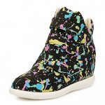 High Top Velcro Canvas Women's Wedge Fashion Sneakers Casual Sport Shoes