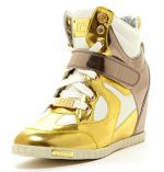 J75 by Jump Women's Adele Wedge Sneaker Gold Silver 8 M US