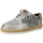 Alexis Leroy Breathable Mesh Sequins Lace Up Platform Women's Espadrilles Sneakers Silver 40 M EU / 9-9.5 B(M) US