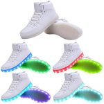 WAWEN Adult&Kids 11 Colors LED Sneakers Light Up Flashing Rechargeable Casual High Top Shoes White US1(Little Kid)