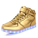 TULUO Kid & Men & Woman USB Charging LED 7 Colors Light High Top Sneakers Light shoes.Gold 38 EU – 5