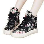 Top Shop Womens Lo-top Gym Canvas Floral Lace Up Trainers Flat Slip-on Casual Black Sneakers,US 7