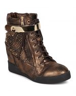 Nature Breeze DK47 Women Distressed Leatherette Rhinestone High Top Wedge Sneaker – Bronze (Size: 10)