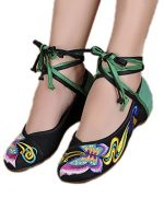AvaCostume Womens Embroidery Classics Butterfly Cheongsam Flat Shoes, Black, 37