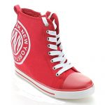 Nature Breeze Oscar-02 Women's Hidden Wedge Lace Up High Top Fashion Sneakers,Red,9