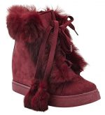 Henry Ferrera Women's Fashion Fur High Top Lace Up Wedge Sneakers, Burgundy, 7 B(M) US