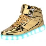 Pilusooou Cool High Top LED Shoes LED Light Up Sneaker & 7 Color Light & USB Charger Gold6 B(M) US Women / 4.5 D(M) US Men